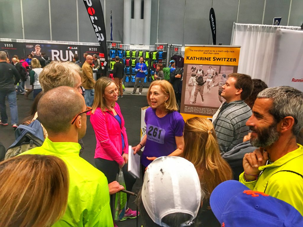 Kathrine Switzer speaking to runners at the NYC Marathon