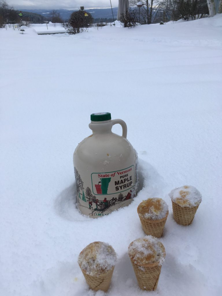 Sugar on Snow. A snow day treat!