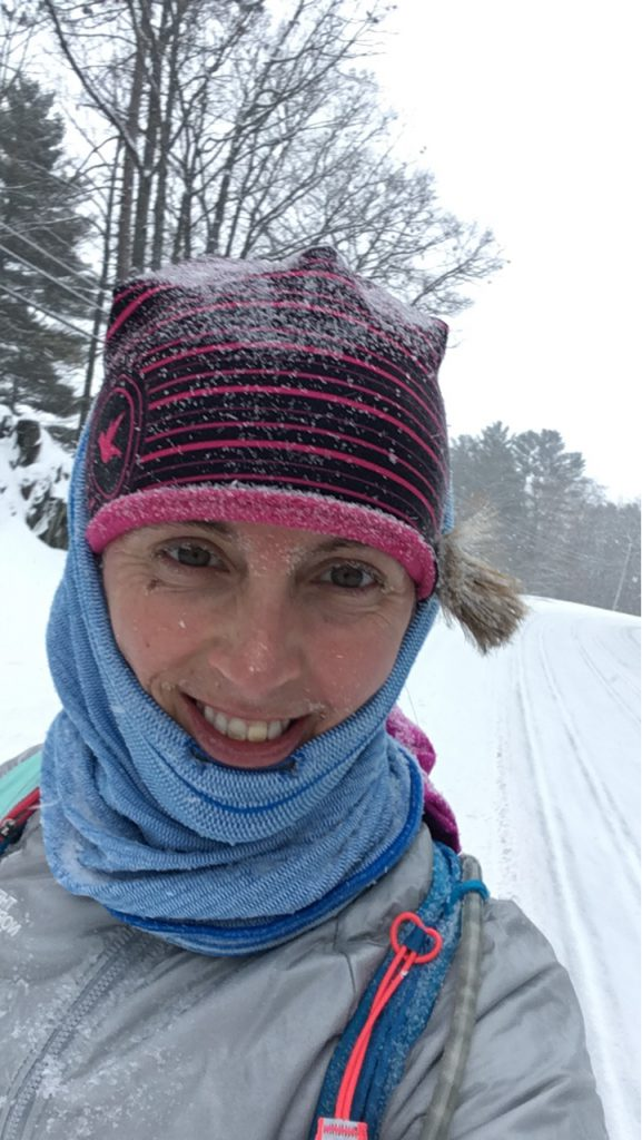 Having fun on a snowy run!