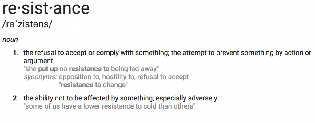 Definition of resistance.