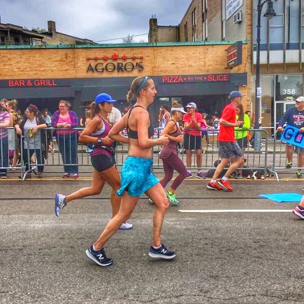My absolute favorite marathon race picture ever taken at mile 22.4 by Melissa Theberge who reads my blog!!! At mile 22.4 I was feeling strong despite the heat!