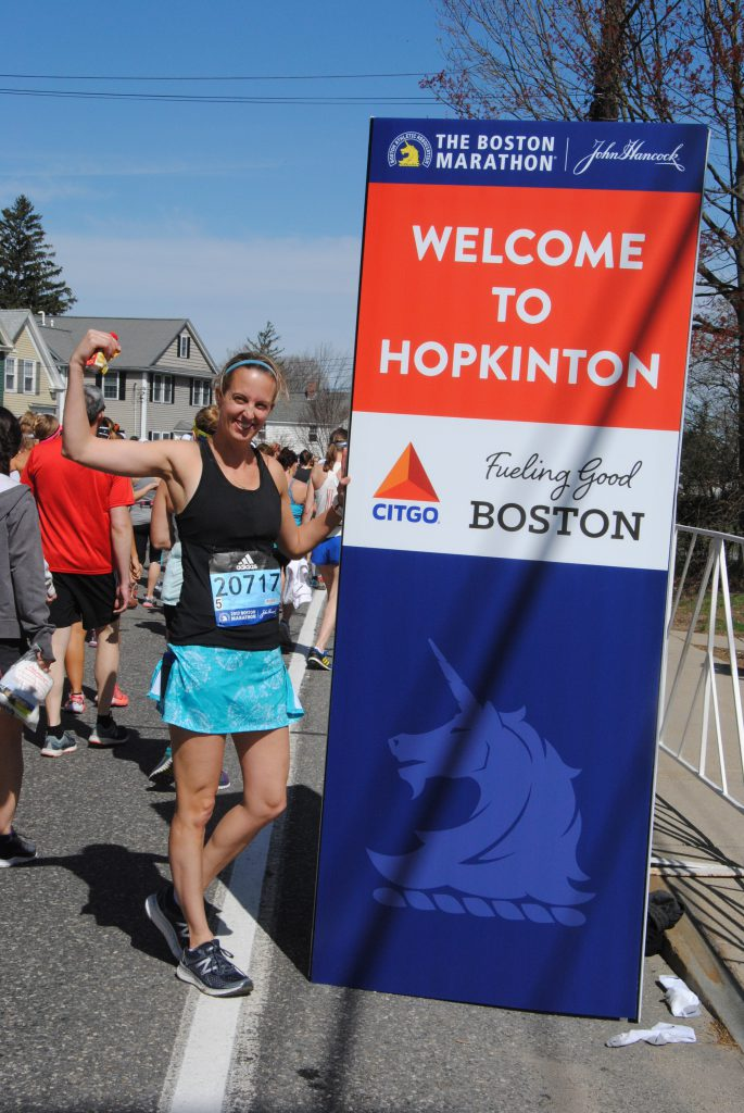 Welcome to Hopkinton! I love the energy of all the runners as we walked to the start!