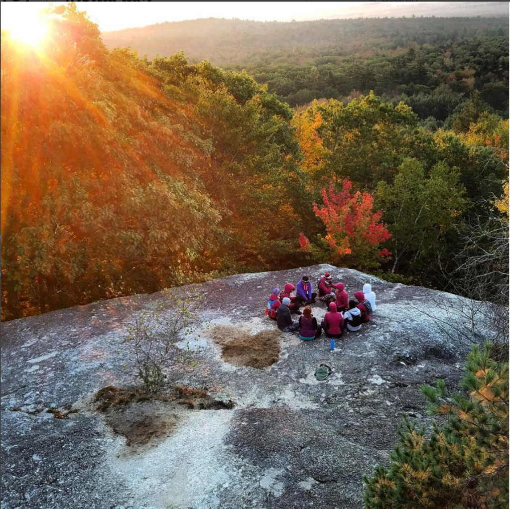 Mindful Sunrise Meditation at Disconnection Retreats in Maine.