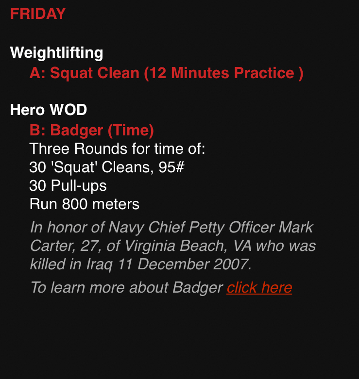 Badger-HERO WOD