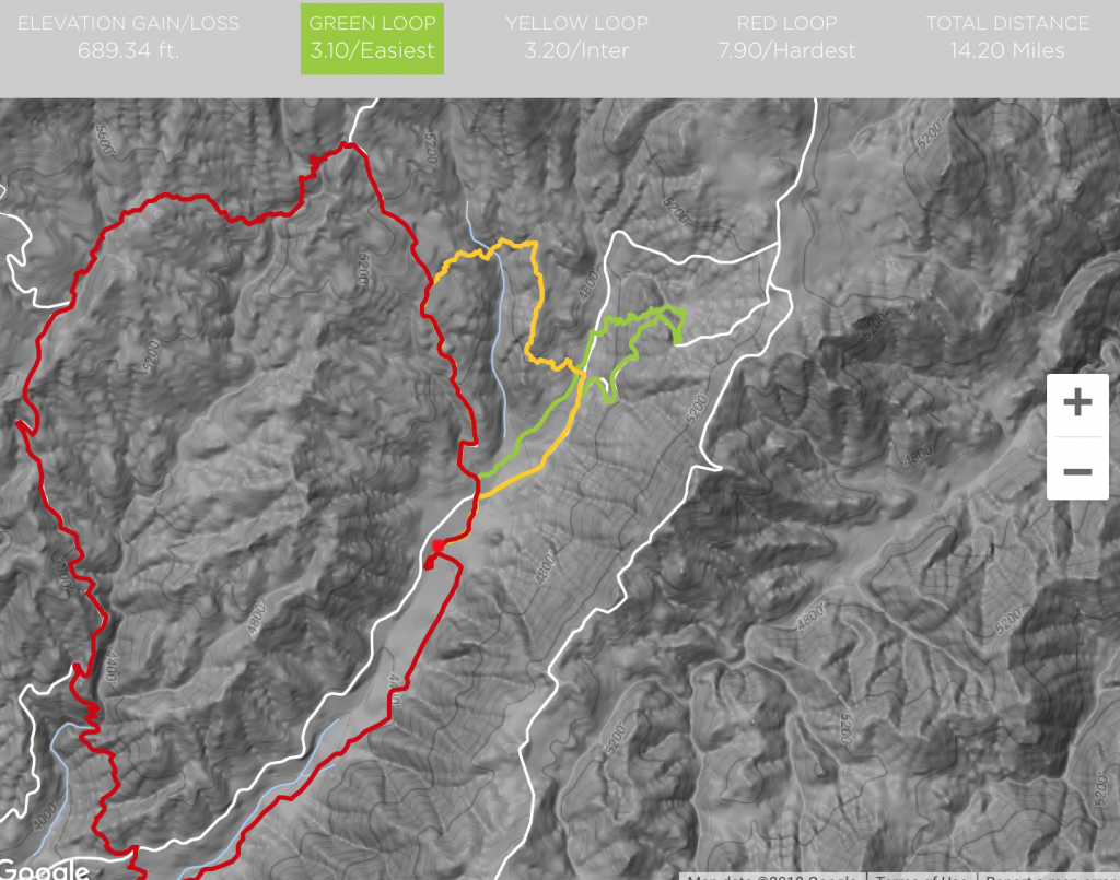 Course and Elevation Map for the Los Coyotes Trail Ragnar Relay