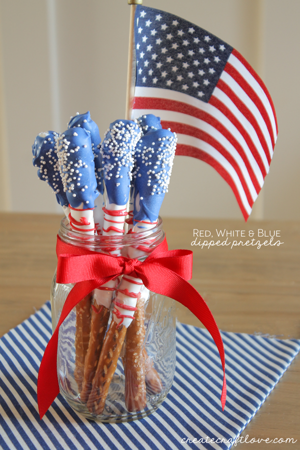 Red, White and Blue, Dipped Pretzels