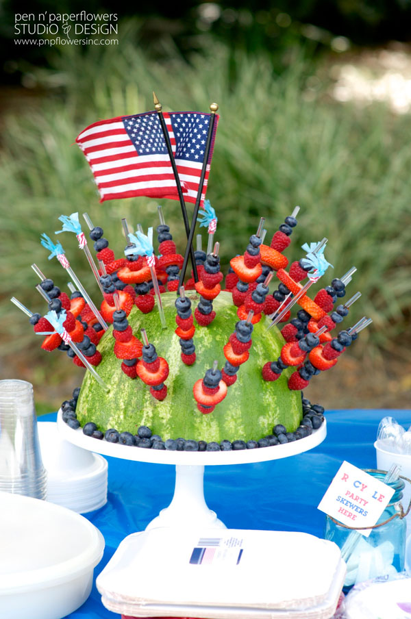 4th of July Watermelon Fruit Kabob Centerpiece