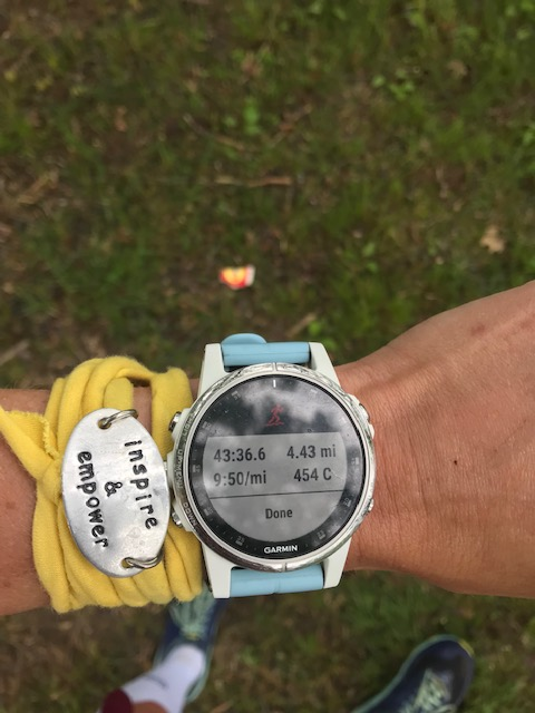 Finish time for the All Out Trail Run. Trail Running. Garmin Watch.