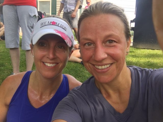 Post 10K selfie with Kristen. We were much sweatier at the end of the race lol!