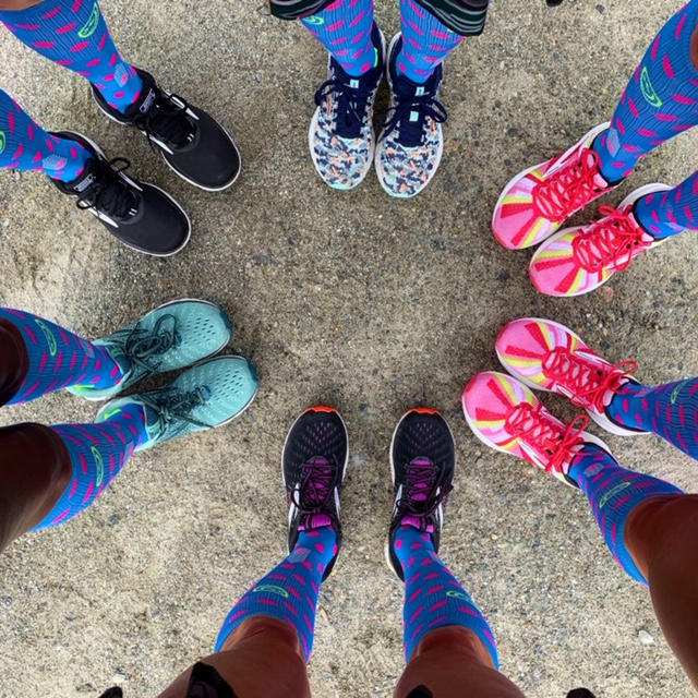Colorful shoes from Brooks Running and Crazy socks from Crazy Compression